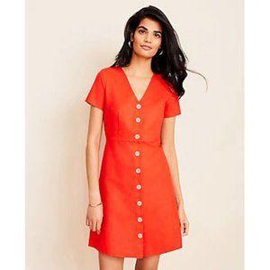 Ann Taylor Dress 6 Red-Orange Cotton/Linen Button-